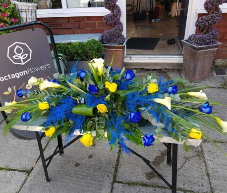 Yellow and Blue Double Ended Casket Spray